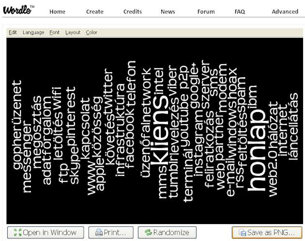 Cimkefelhő készítése online: Wordle -- 3. ábra